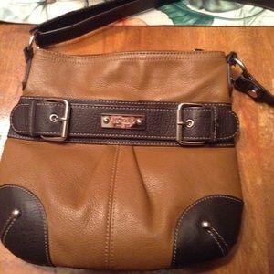 Tignanello Tan/brown Leather Crossbody Bag